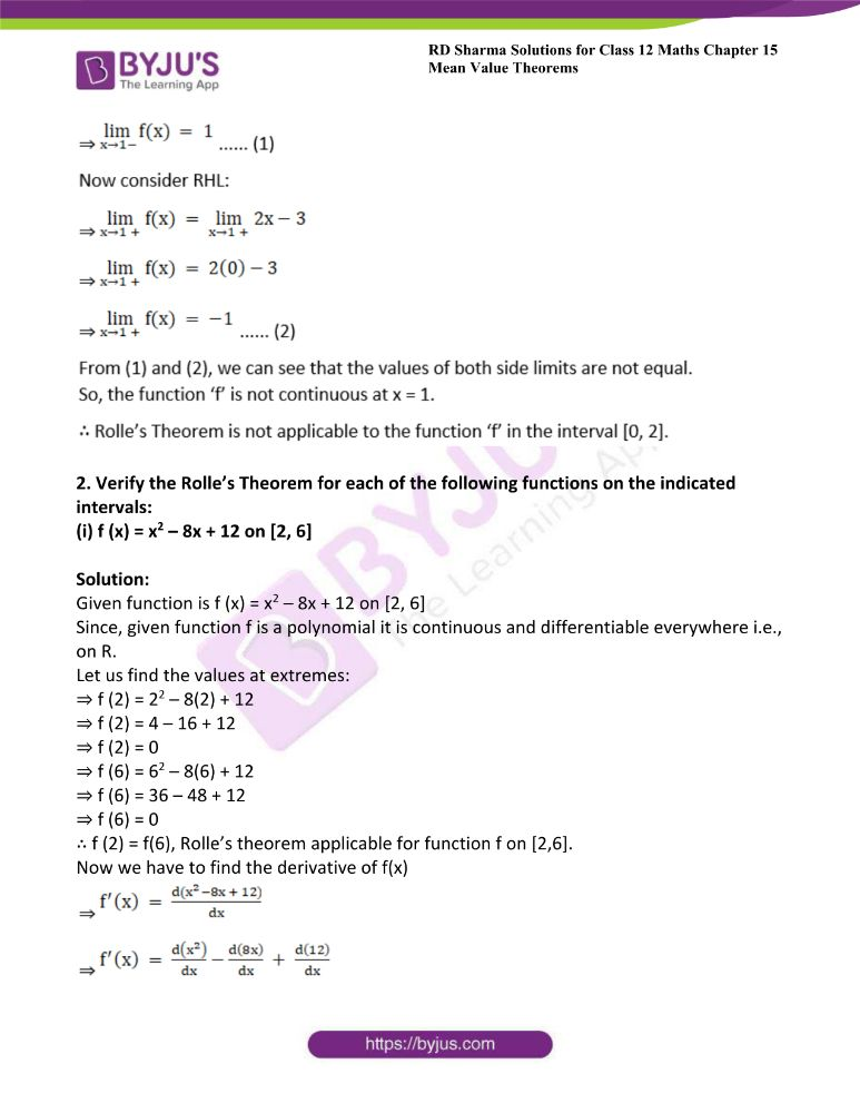 RD Sharma Class 12 Maths Solutions Chapter 15 Mean Value Theorems Exercise 15.1 5