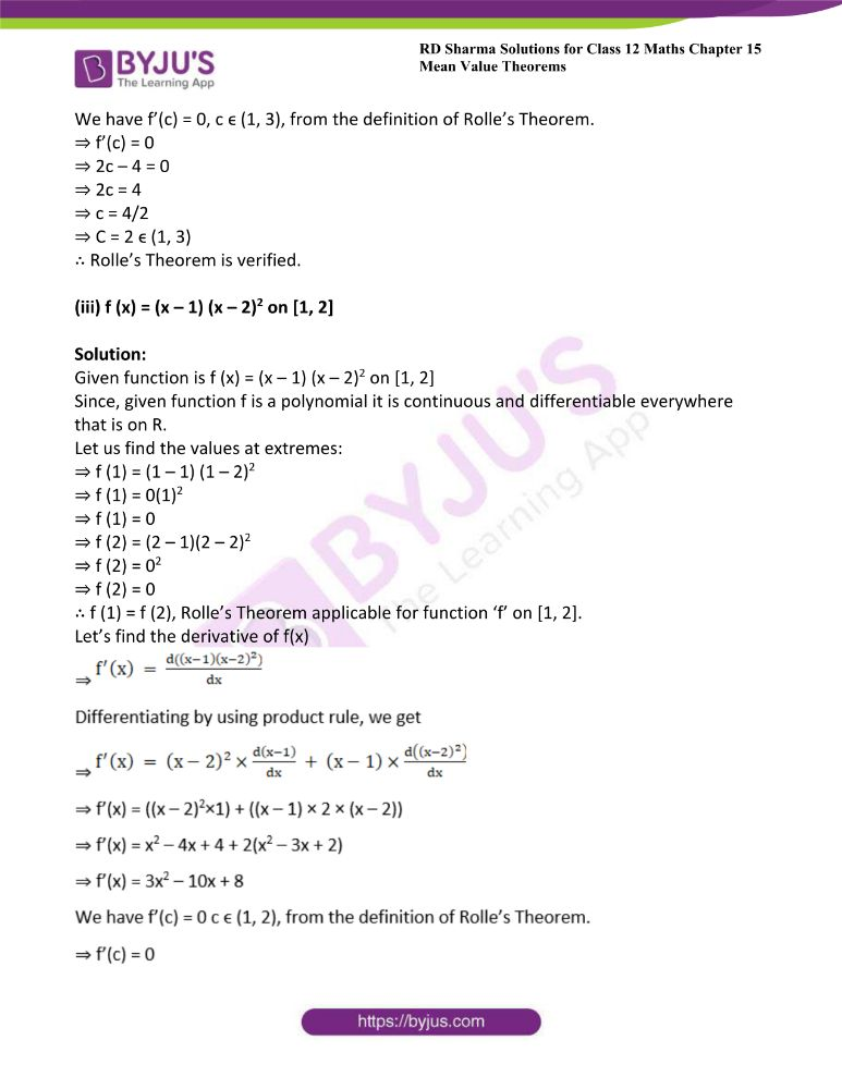 RD Sharma Class 12 Maths Solutions Chapter 15 Mean Value Theorems Exercise 15.1 7