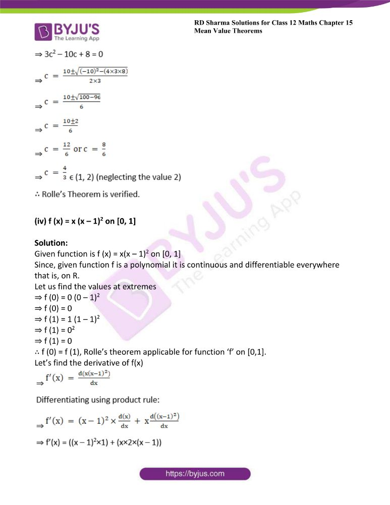 RD Sharma Class 12 Maths Solutions Chapter 15 Mean Value Theorems Exercise 15.1 8