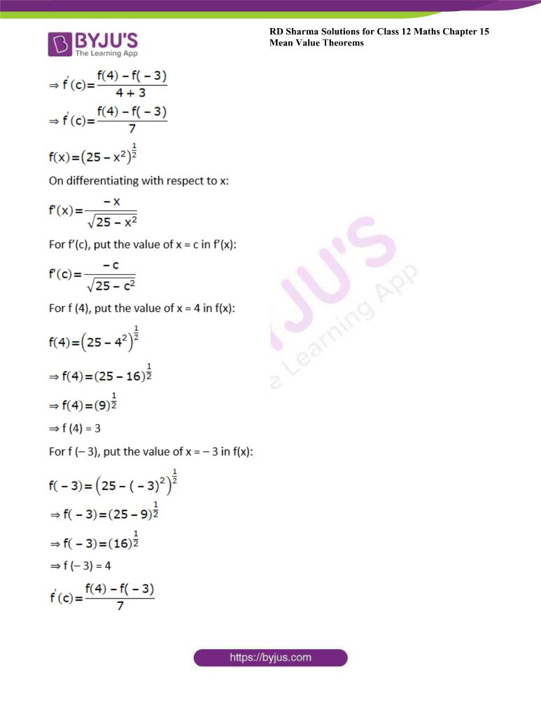RD Sharma Class 12 Maths Solutions Chapter 15 Mean Value Theorems Exercise 15.2 11