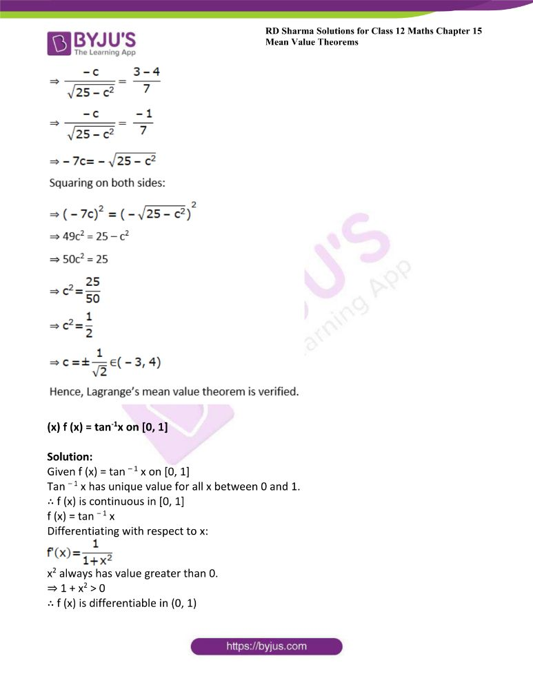 RD Sharma Class 12 Maths Solutions Chapter 15 Mean Value Theorems Exercise 15.2 12