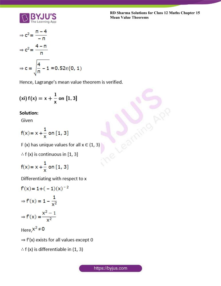 RD Sharma Class 12 Maths Solutions Chapter 15 Mean Value Theorems Exercise 15.2 14
