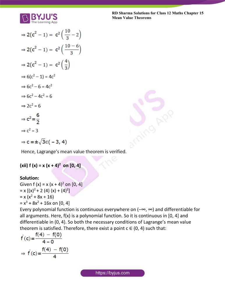 RD Sharma Class 12 Maths Solutions Chapter 15 Mean Value Theorems Exercise 15.2 16