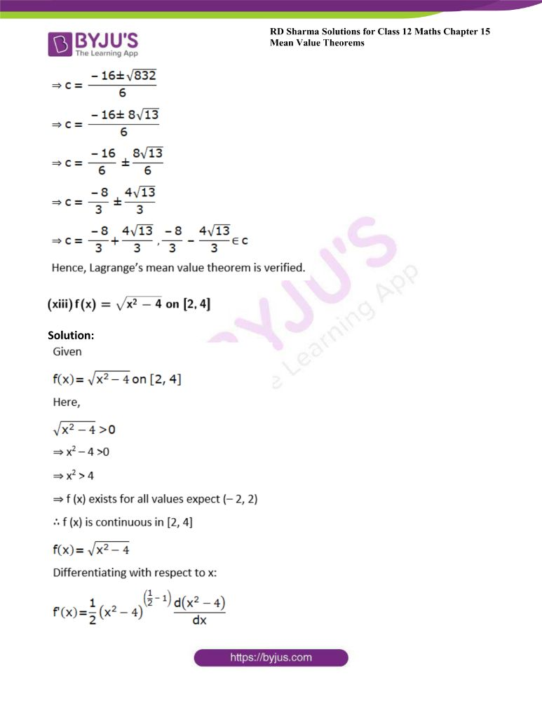 RD Sharma Class 12 Maths Solutions Chapter 15 Mean Value Theorems Exercise 15.2 18