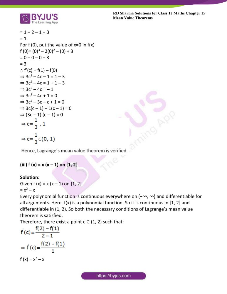 RD Sharma Class 12 Maths Solutions Chapter 15 Mean Value Theorems Exercise 15.2 2