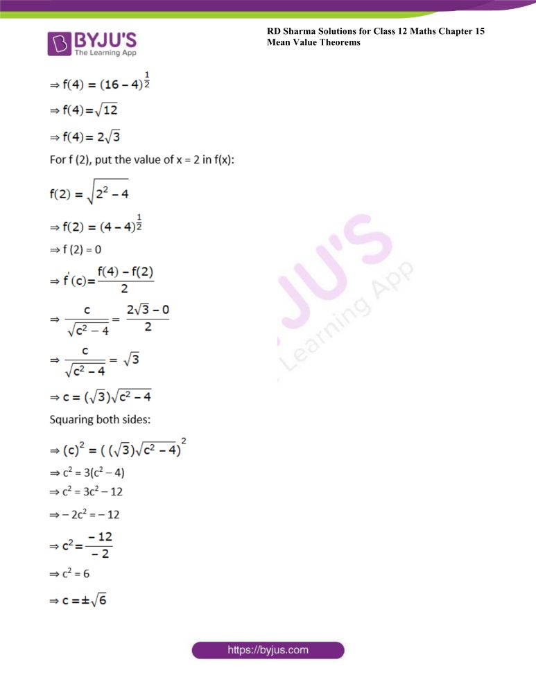 RD Sharma Class 12 Maths Solutions Chapter 15 Mean Value Theorems Exercise 15.2 20