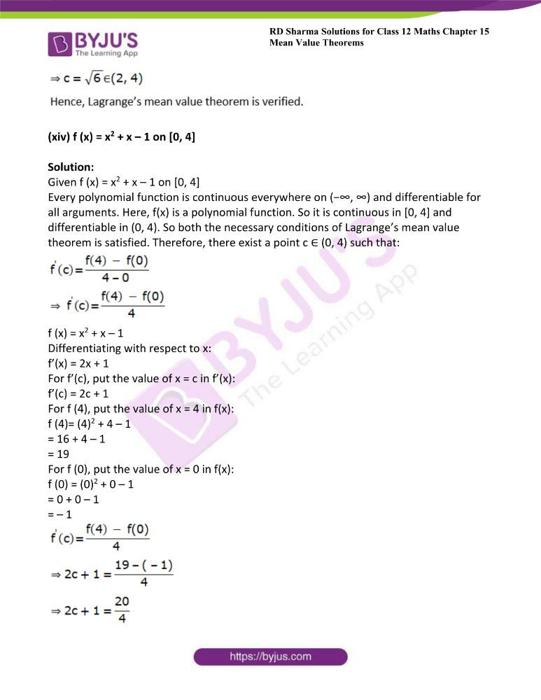 RD Sharma Class 12 Maths Solutions Chapter 15 Mean Value Theorems Exercise 15.2 21