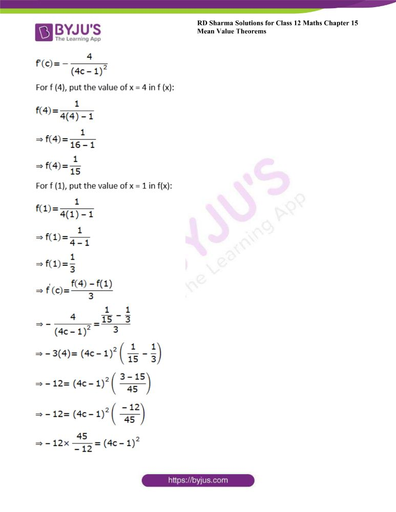 RD Sharma Class 12 Maths Solutions Chapter 15 Mean Value Theorems Exercise 15.2 28