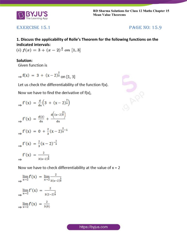 RD Sharma Class 12 Maths Solutions Chapter 15 Mean Value Theorems