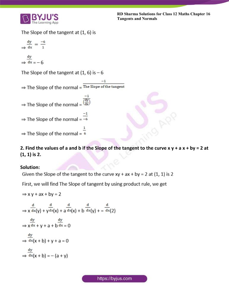 RD Sharma Class 12 Maths Solutions Chapter 16 Tangents And Normals 14