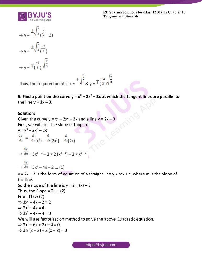 RD Sharma Class 12 Maths Solutions Chapter 16 Tangents And Normals 18