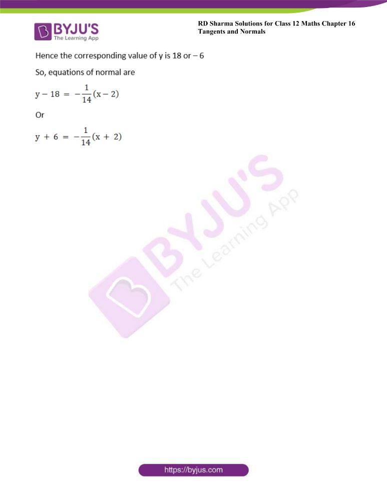 RD Sharma Class 12 Maths Solutions Chapter 16 Tangents And Normals 38