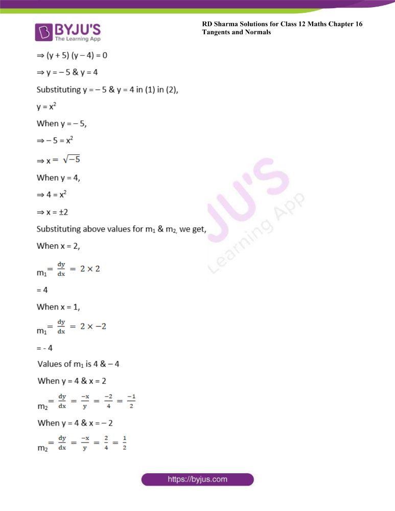 RD Sharma Class 12 Maths Solutions Chapter 16 Tangents And Normals 42