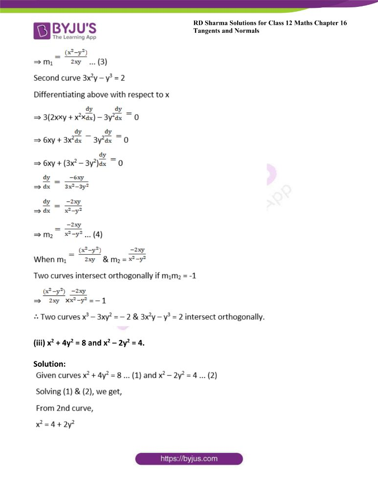 RD Sharma Class 12 Maths Solutions Chapter 16 Tangents And Normals 54