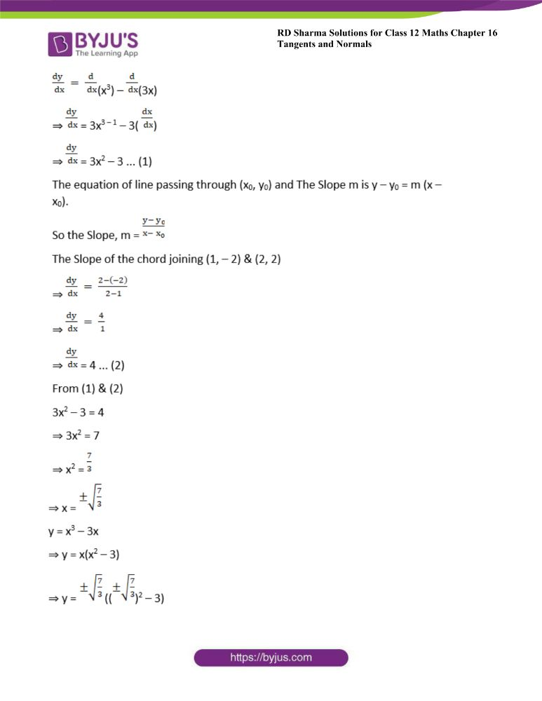 RD Sharma Class 12 Maths Solutions Chapter 16 Tangents And Normals Exercise 16.1 17