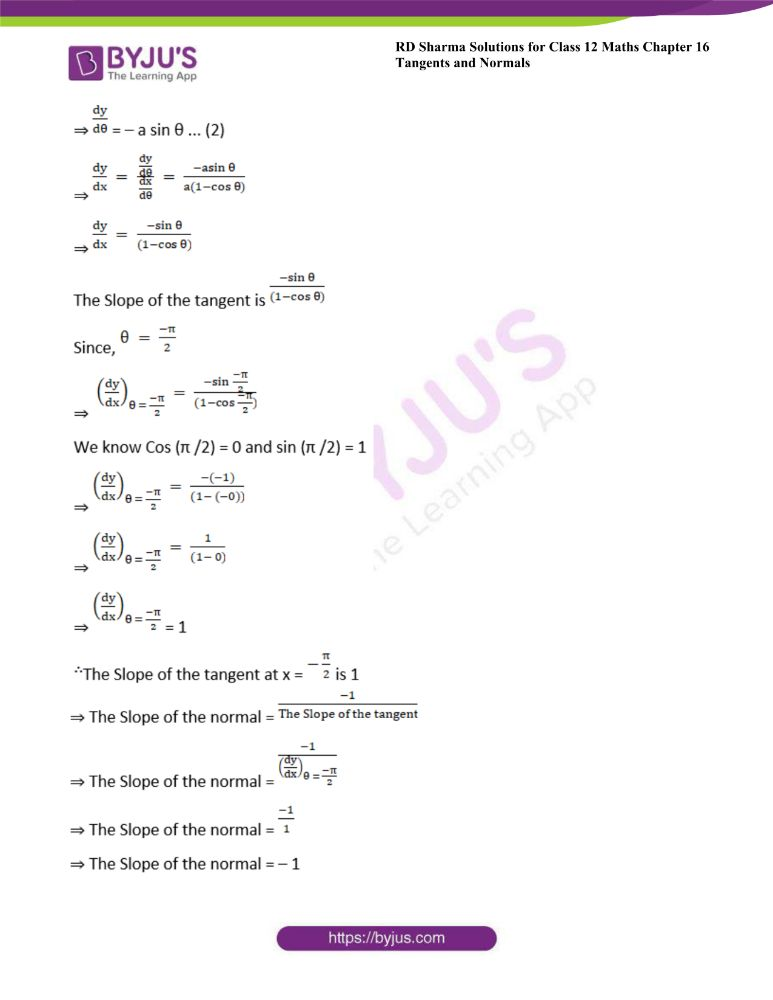 RD Sharma Class 12 Maths Solutions Chapter 16 Tangents And Normals Exercise 16.1 6