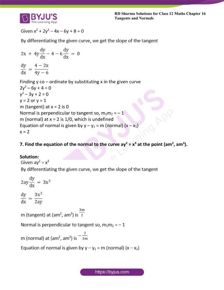 RD Sharma Class 12 Maths Solutions Chapter 16 Tangents And Normals Exercise 16.2 10