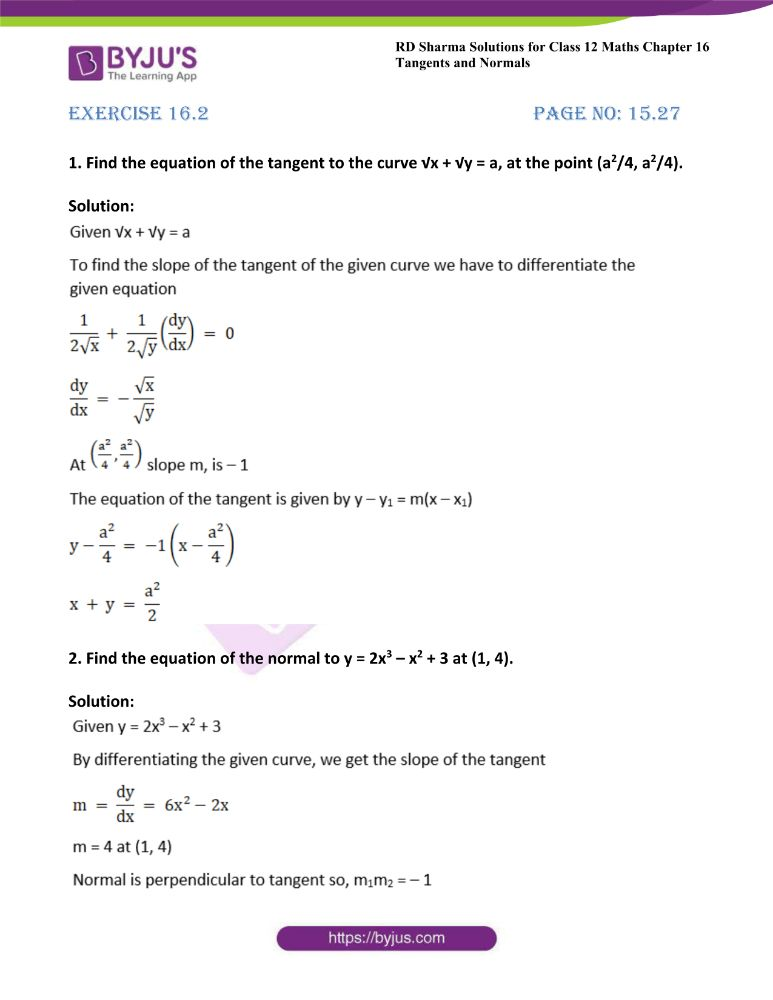 RD Sharma Class 12 Maths Solutions Chapter 16 Tangents And Normals Exercise 16.2
