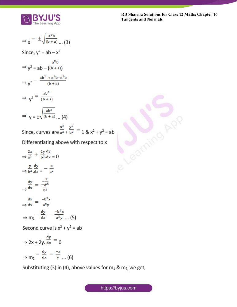 RD Sharma Class 12 Maths Solutions Chapter 16 Tangents And Normals Exercise 16.3 10
