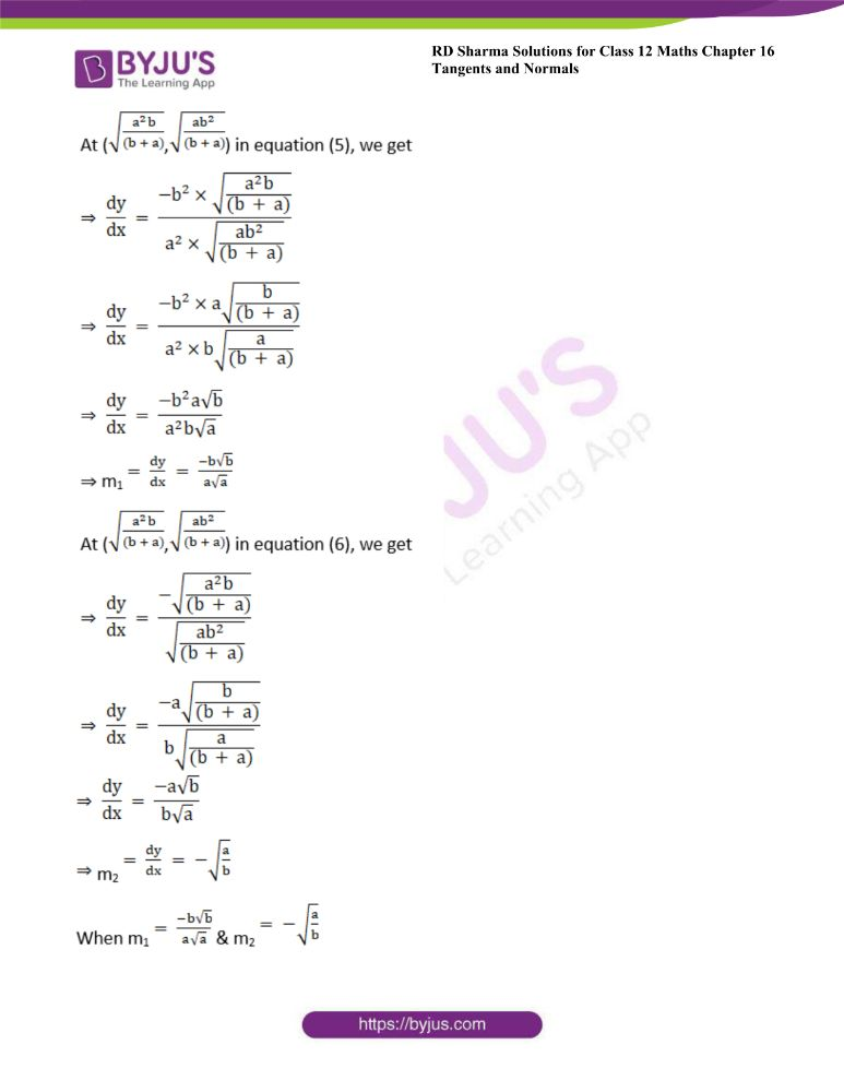RD Sharma Class 12 Maths Solutions Chapter 16 Tangents And Normals Exercise 16.3 11
