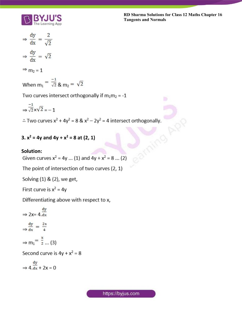 RD Sharma Class 12 Maths Solutions Chapter 16 Tangents And Normals Exercise 16.3 18