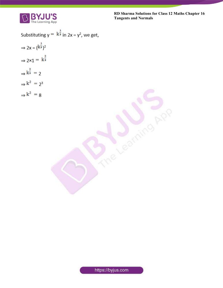 RD Sharma Class 12 Maths Solutions Chapter 16 Tangents And Normals Exercise 16.3 25