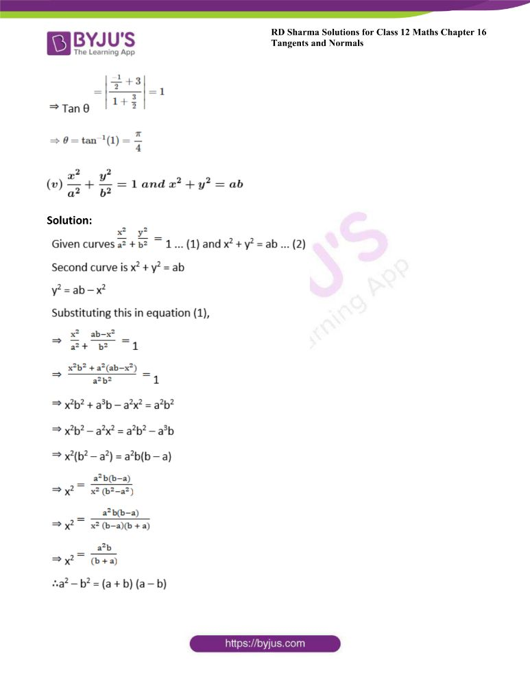 RD Sharma Class 12 Maths Solutions Chapter 16 Tangents And Normals Exercise 16.3 9
