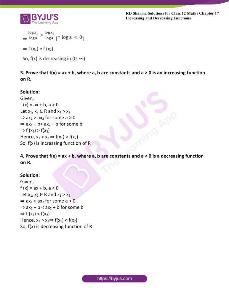 RD Sharma Class 12 Maths Solutions Chapter 17 Increasing And Decreasing Functions 1