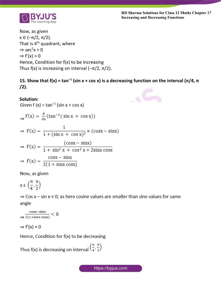 RD Sharma Class 12 Maths Solutions Chapter 17 Increasing And Decreasing Functions 17