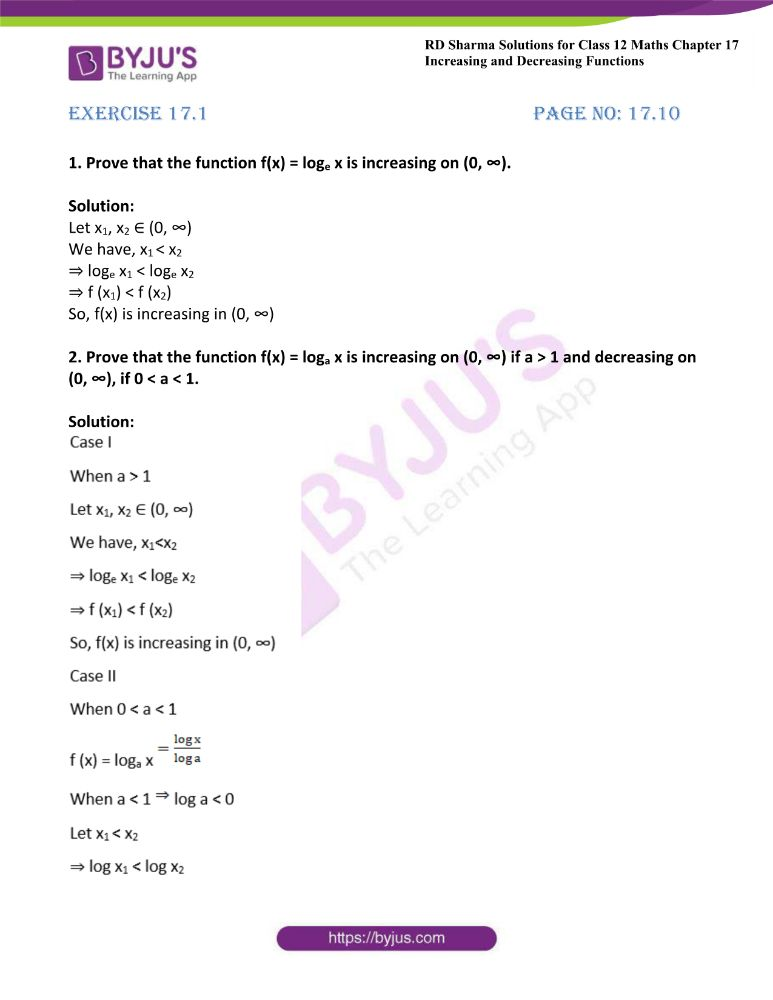 RD Sharma Class 12 Maths Solutions Chapter 17 Increasing And Decreasing Functions Exercise 17.1