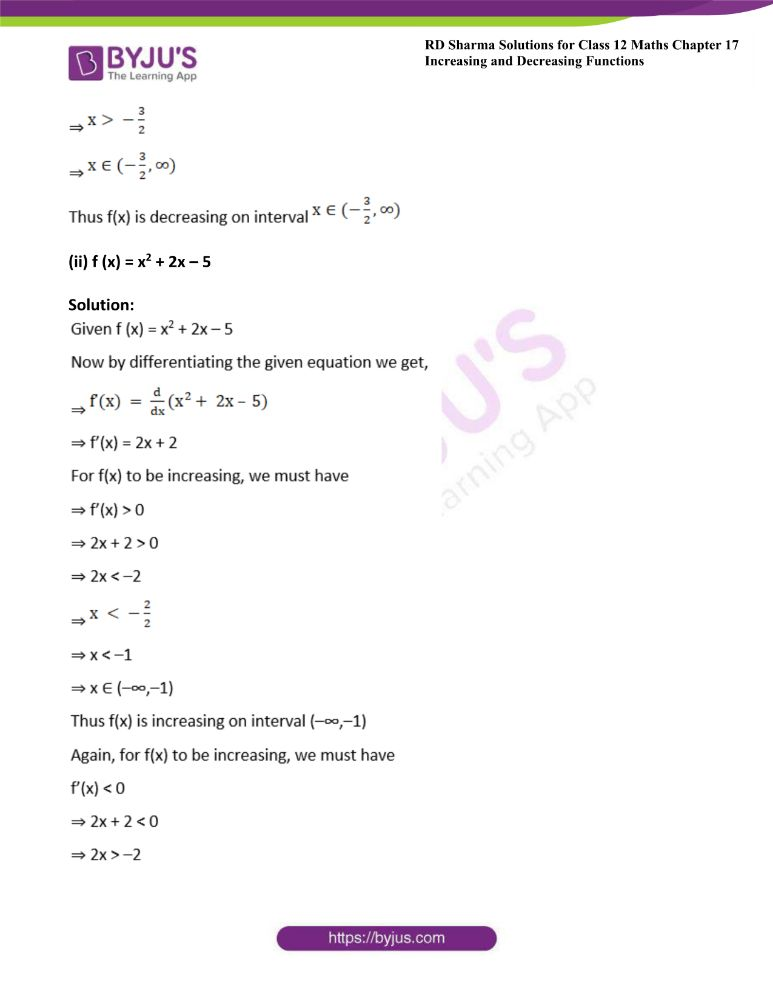 RD Sharma Class 12 Maths Solutions Chapter 17 Increasing And Decreasing Functions Exercise 17.2 1