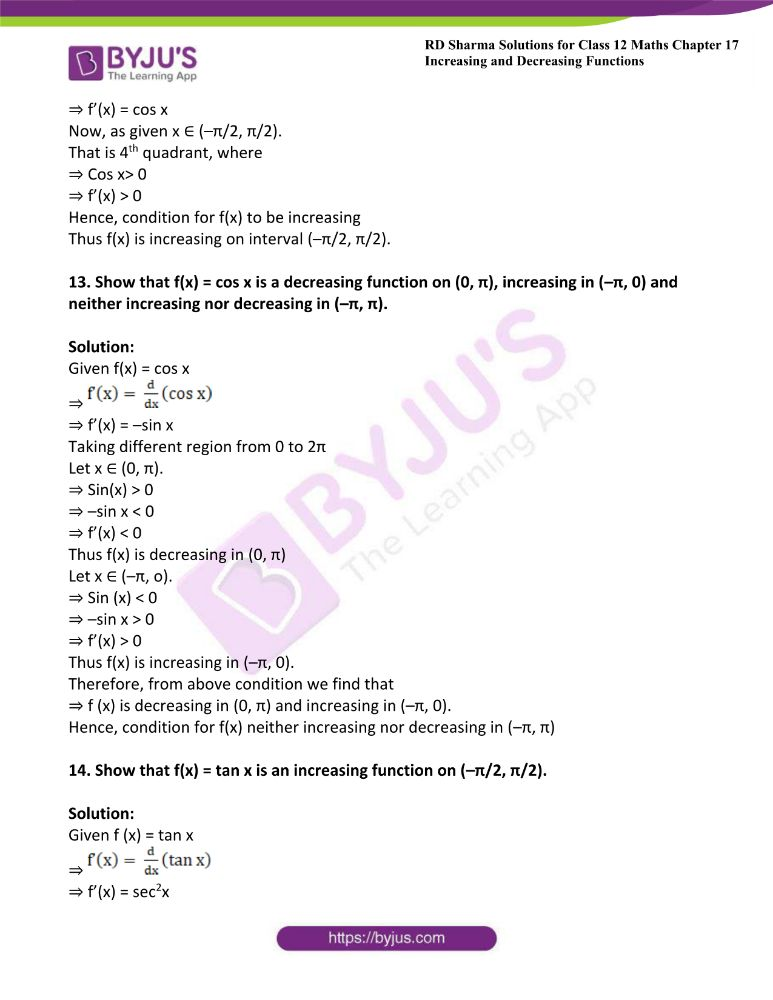 RD Sharma Class 12 Maths Solutions Chapter 17 Increasing And Decreasing Functions Exercise 17.2 14