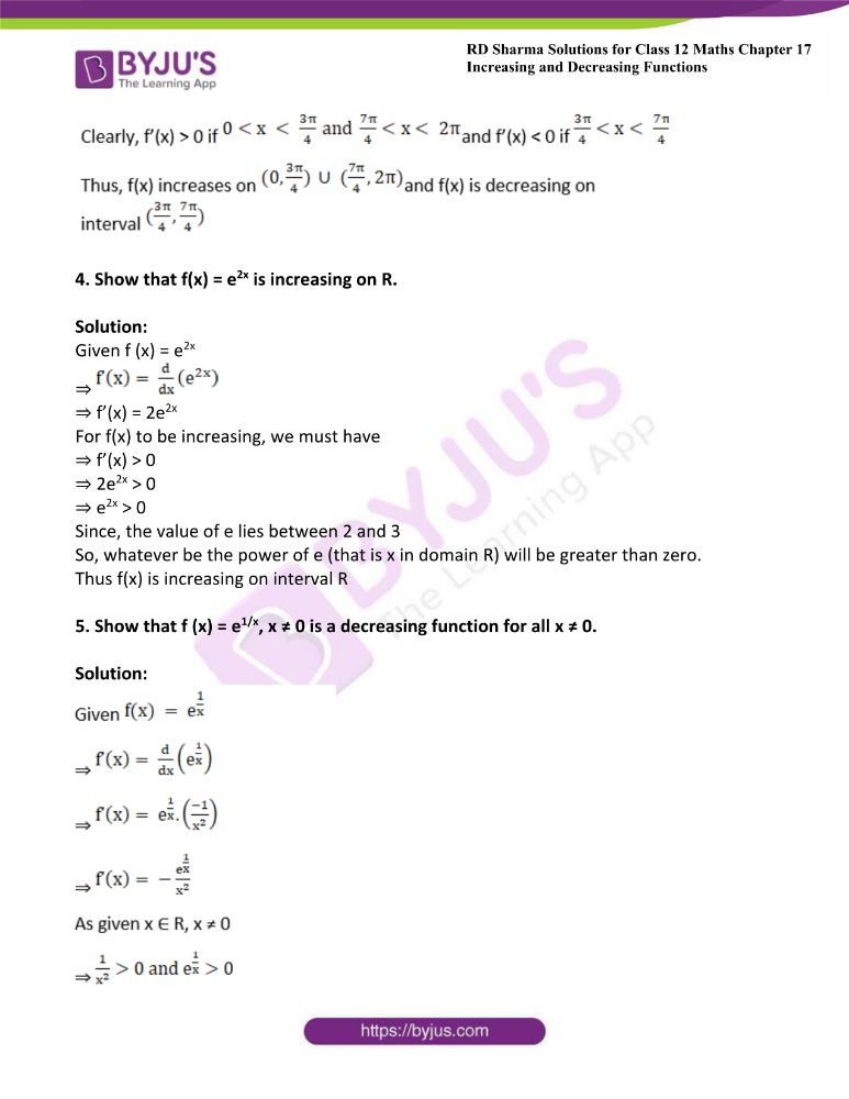 RD Sharma Class 12 Maths Solutions Chapter 17 Increasing And Decreasing Functions Exercise 17.2 9