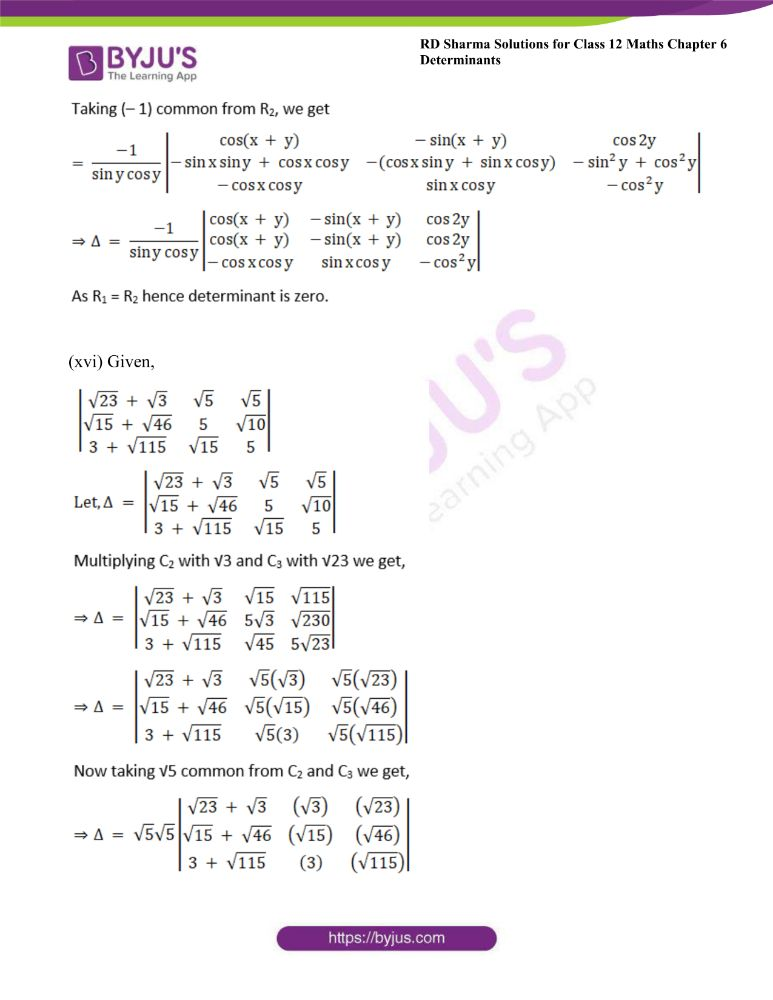 RD Sharma Class 12 Maths Solutions Chapter 6 Determinants 27