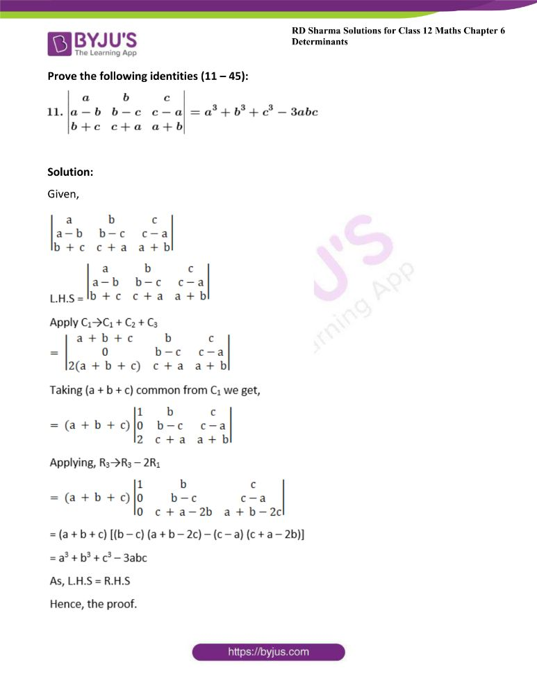 RD Sharma Class 12 Maths Solutions Chapter 6 Determinants 36