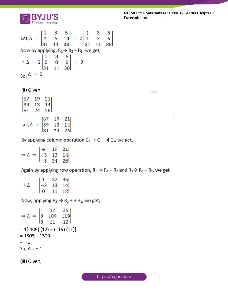 RD Sharma Class 12 Maths Solutions Chapter 6 Determinants Exercise 6.2 1