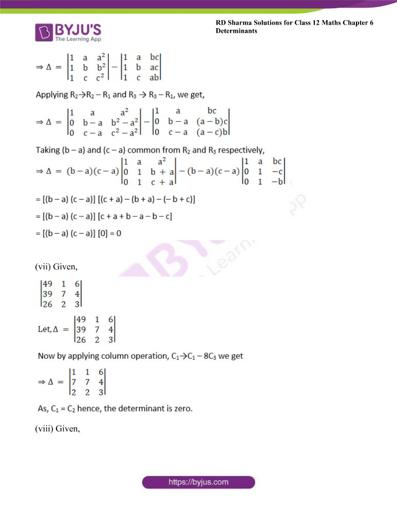 RD Sharma Class 12 Maths Solutions Chapter 6 Determinants Exercise 6.2 10