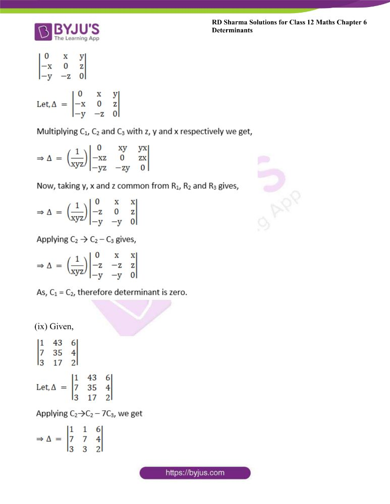 RD Sharma Class 12 Maths Solutions Chapter 6 Determinants Exercise 6.2 11