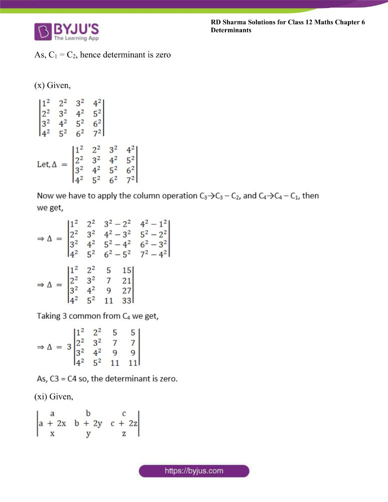 RD Sharma Class 12 Maths Solutions Chapter 6 Determinants Exercise 6.2 12