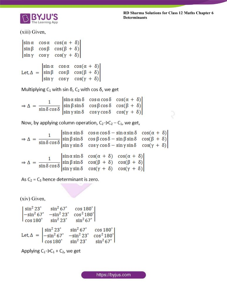 RD Sharma Class 12 Maths Solutions Chapter 6 Determinants Exercise 6.2 14