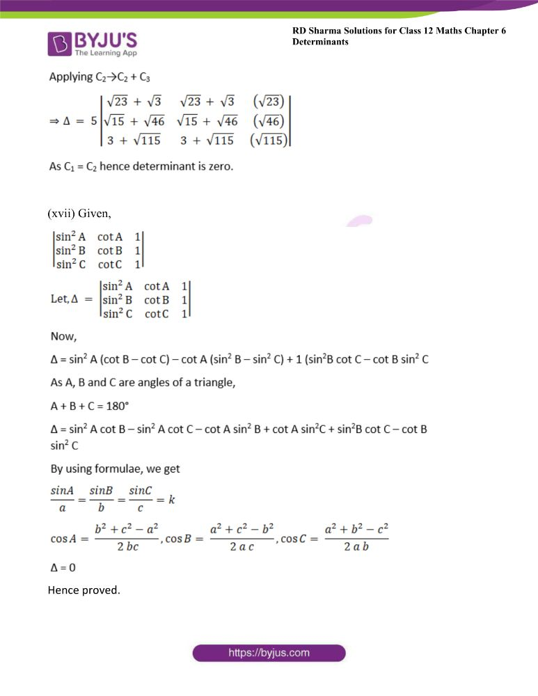 RD Sharma Class 12 Maths Solutions Chapter 6 Determinants Exercise 6.2 17