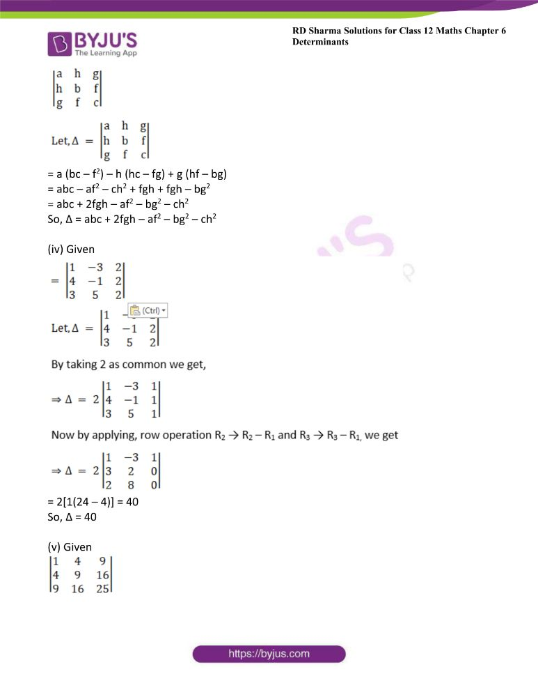 RD Sharma Class 12 Maths Solutions Chapter 6 Determinants Exercise 6.2 2