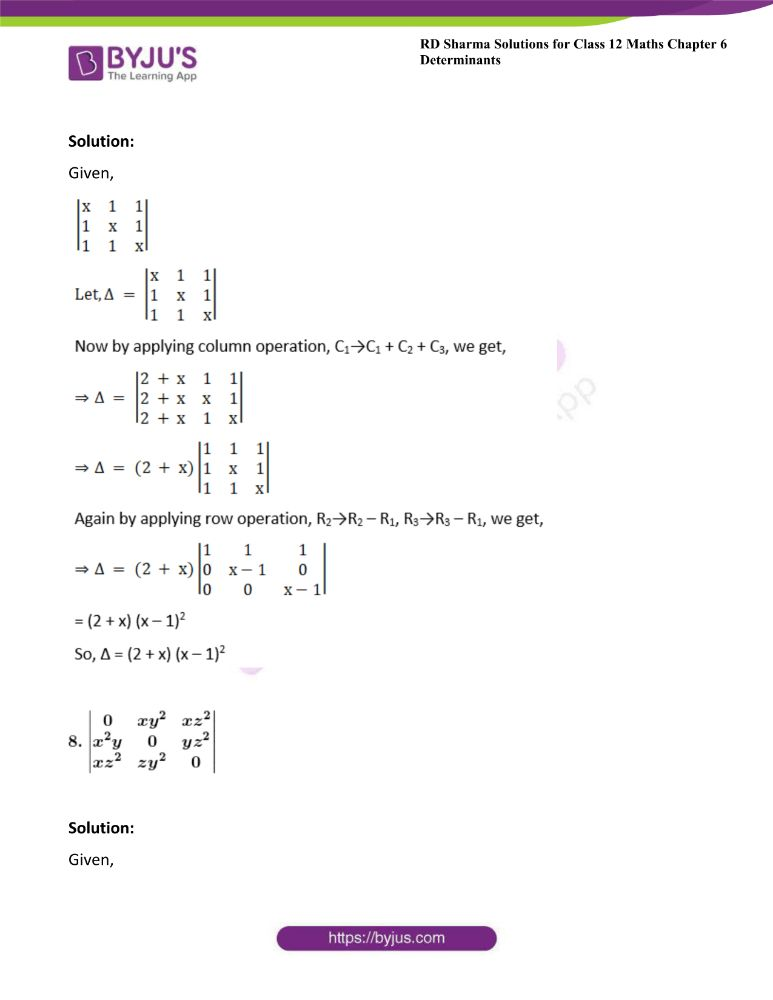 RD Sharma Class 12 Maths Solutions Chapter 6 Determinants Exercise 6.2 22