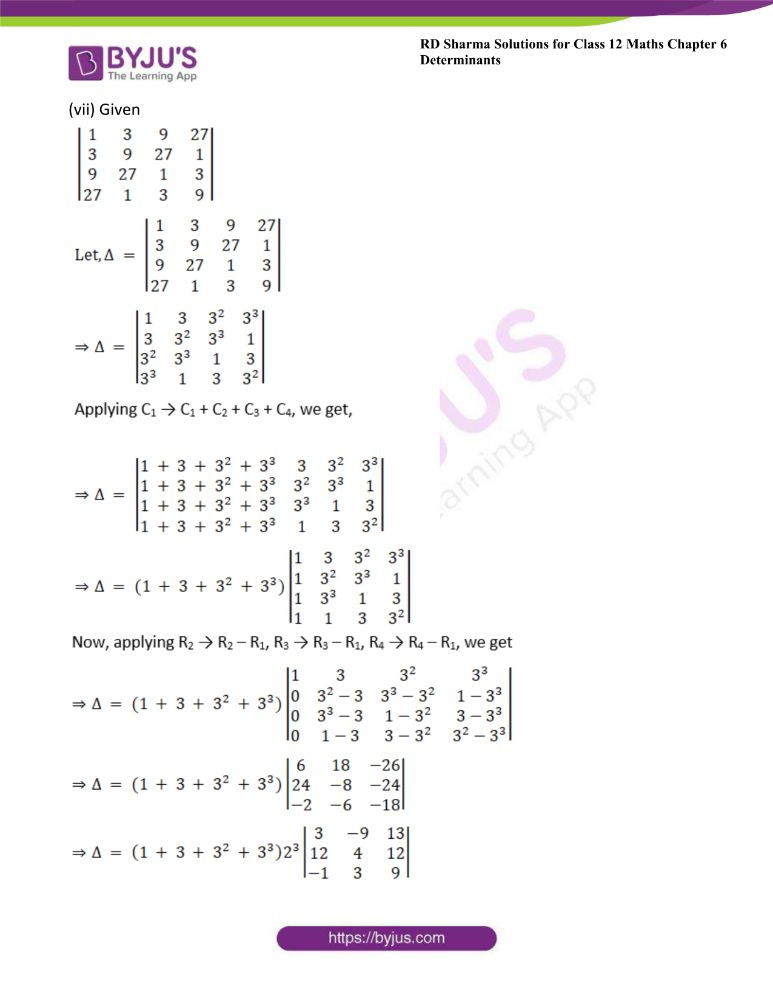RD Sharma Class 12 Maths Solutions Chapter 6 Determinants Exercise 6.2 4