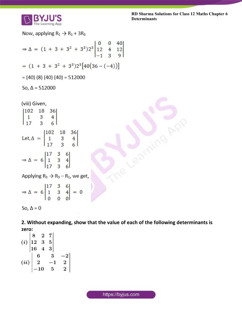 RD Sharma Class 12 Maths Solutions Chapter 6 Determinants Exercise 6.2 5