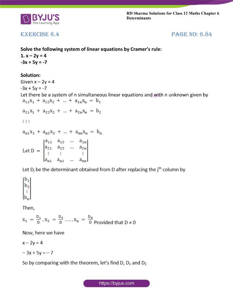 RD Sharma Class 12 Maths Solutions Chapter 6 Determinants Exercise 6.4