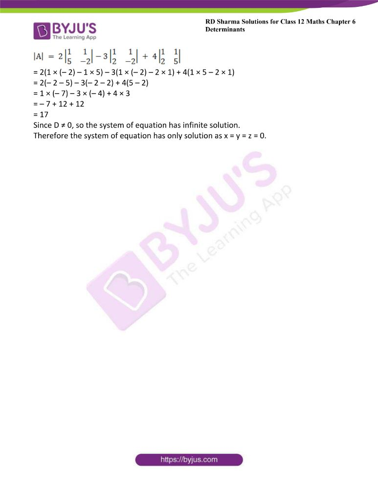 RD Sharma Class 12 Maths Solutions Chapter 6 Determinants Exercise 6.5 2