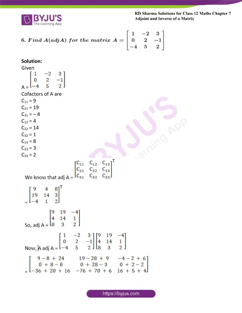 RD Sharma Class 12 Maths Solutions Chapter 7 Adjoint And Inverse Of A Matrix 15