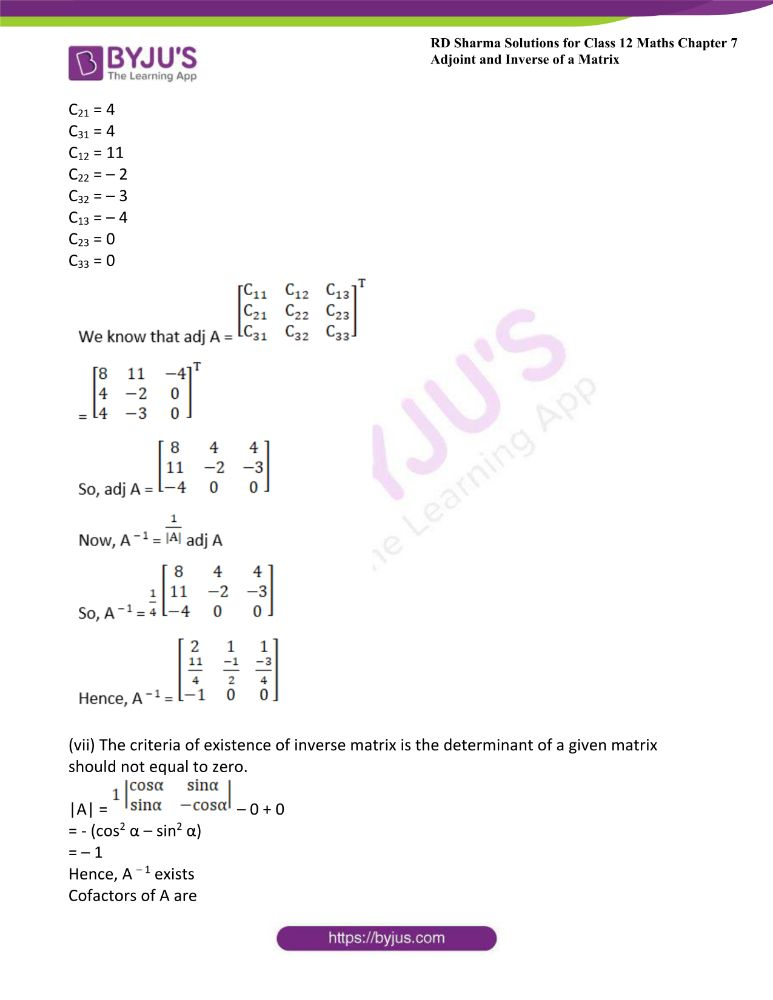 RD Sharma Class 12 Maths Solutions Chapter 7 Adjoint And Inverse Of A Matrix 26