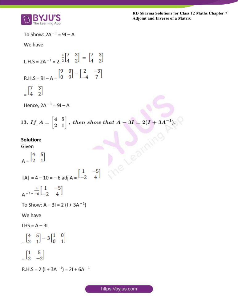 RD Sharma Class 12 Maths Solutions Chapter 7 Adjoint And Inverse Of A Matrix 34